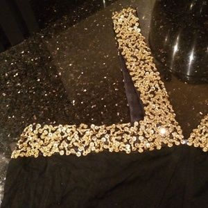 Runway Tops - Embellished Black Stretch Top with Gold Sequins